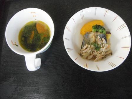 秋刀魚のきのこソースとビタミンAスープ